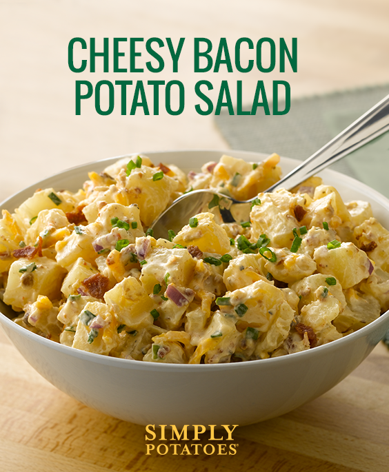 Loaded Potato More Like Exploded Potato Packed With Sharp Cheddar Bacon Sour Cream And Chives This Easy Potato Salad Recipe Is Bacon Potato Potato Salad Potato Salad Recipe Easy