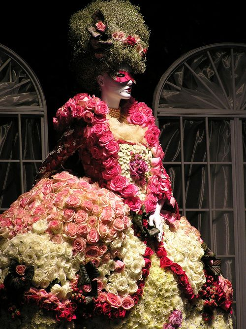 A Marie Antoinette inspired dress and wig made entirely of