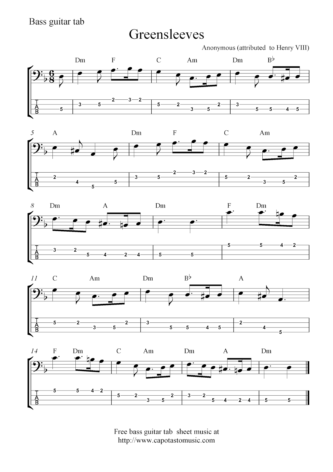 Free Sheet Music Scores: Bass tab | Bass in 2019 | Guitar ...
