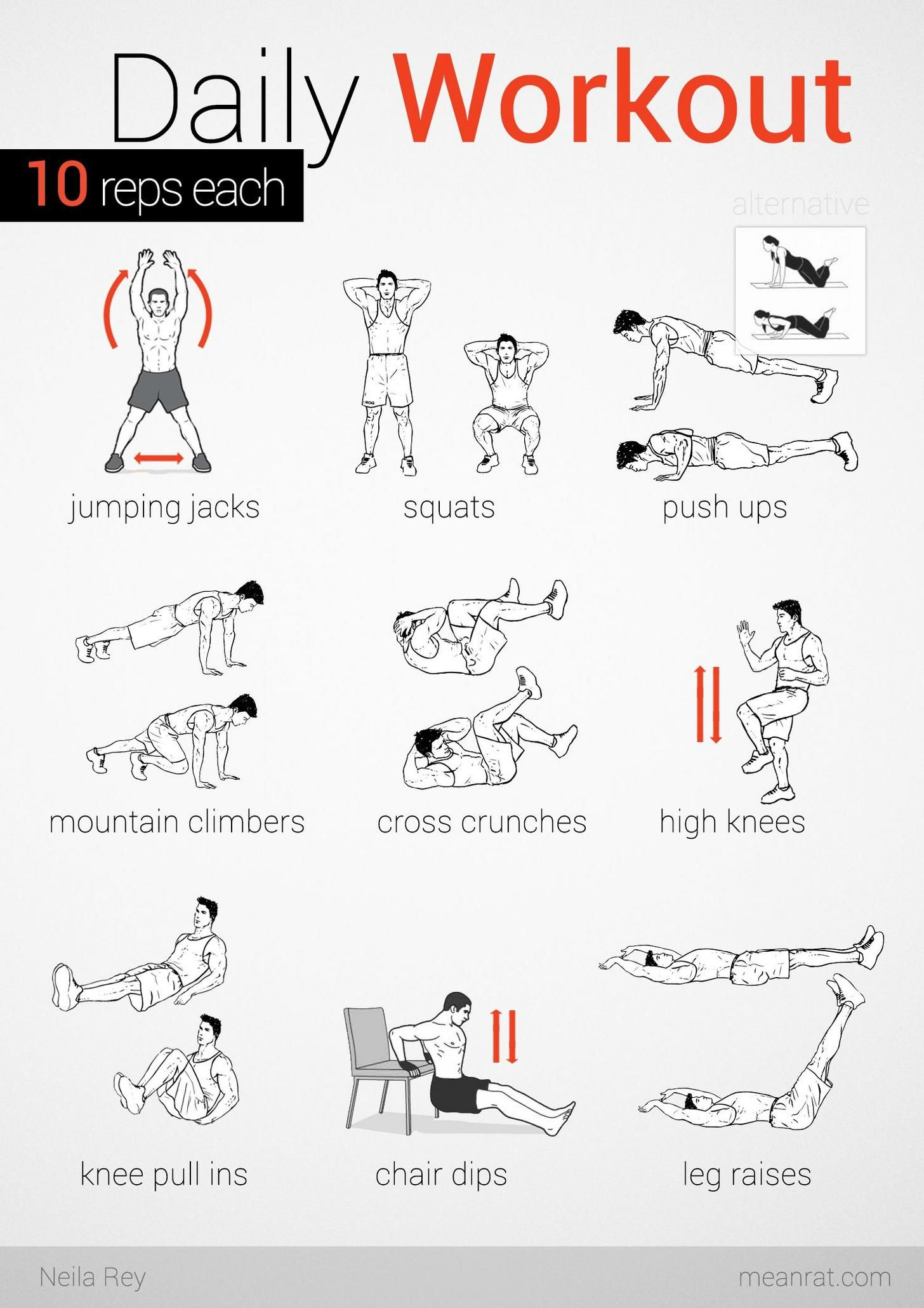 No equipment easy workout Daily workout, Easy daily