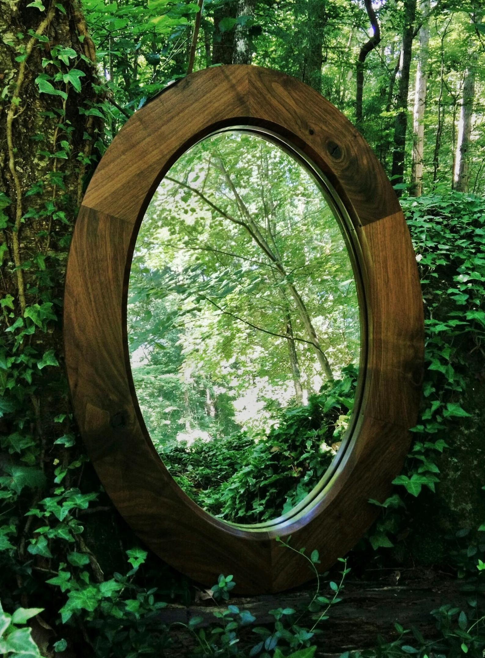 Walnut Oval Mirror Wood Oval Mirror Custom Oval Mirror