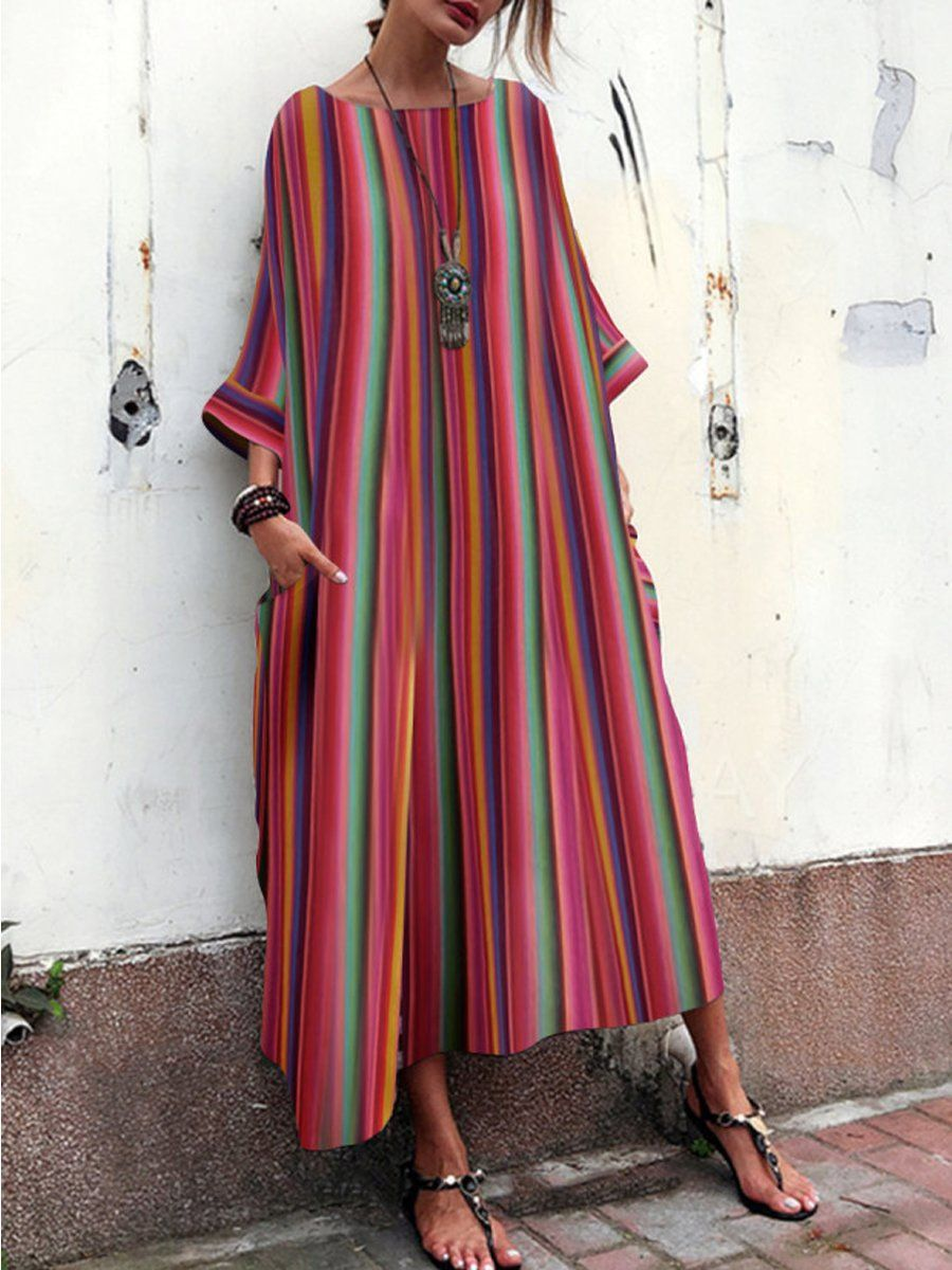 866820148b03 SPECIFICATIONS Product Name  Oversized Striped Round Neck Pocket Maxi Dress  Sku  C39451457F2A Thickness
