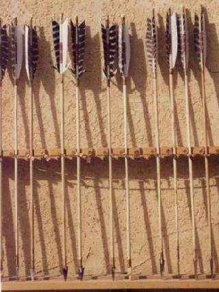 Native American Bow And Arrow And Heads Of Metal Flint