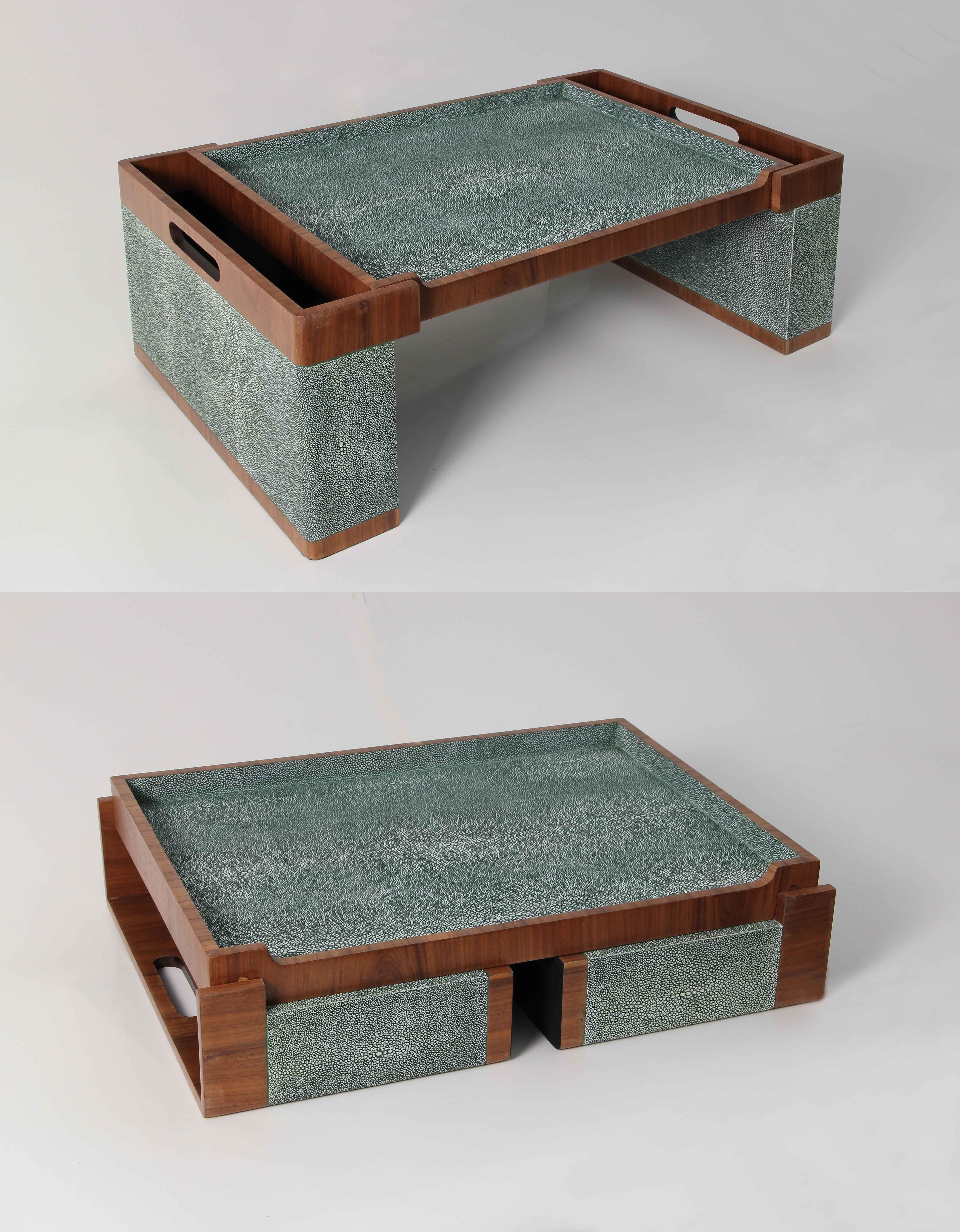 Best Folding Bed Tray In Lincoln Green Shagreen Walnut 640 x 480