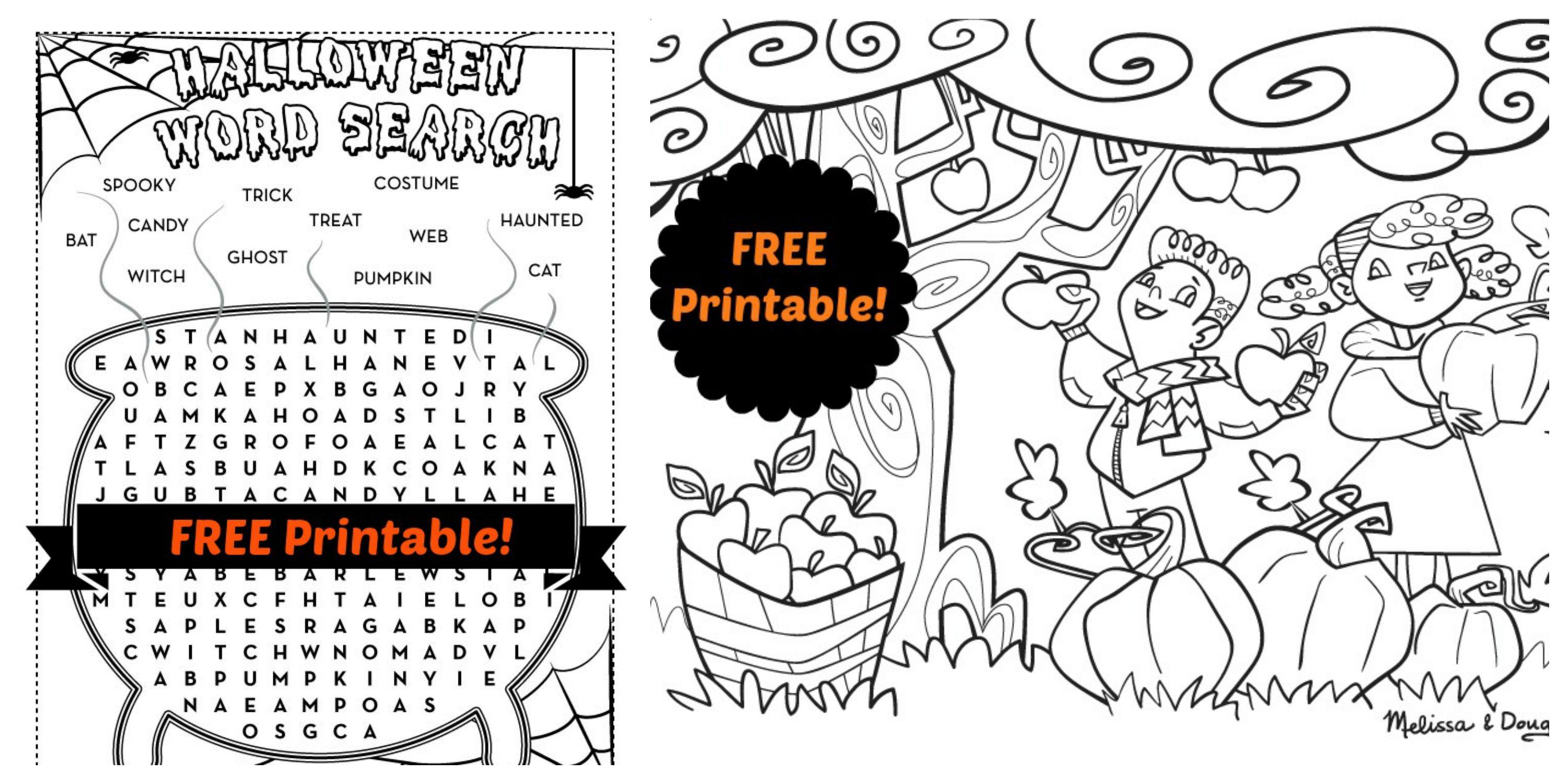 2 Printable Halloween Activity Pages For Kids