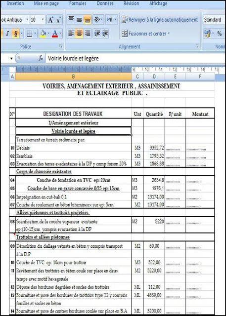 exemple d u2019un devis quantitatif et estimatif pour r u00e9alisation des travaux de vrd  voiries