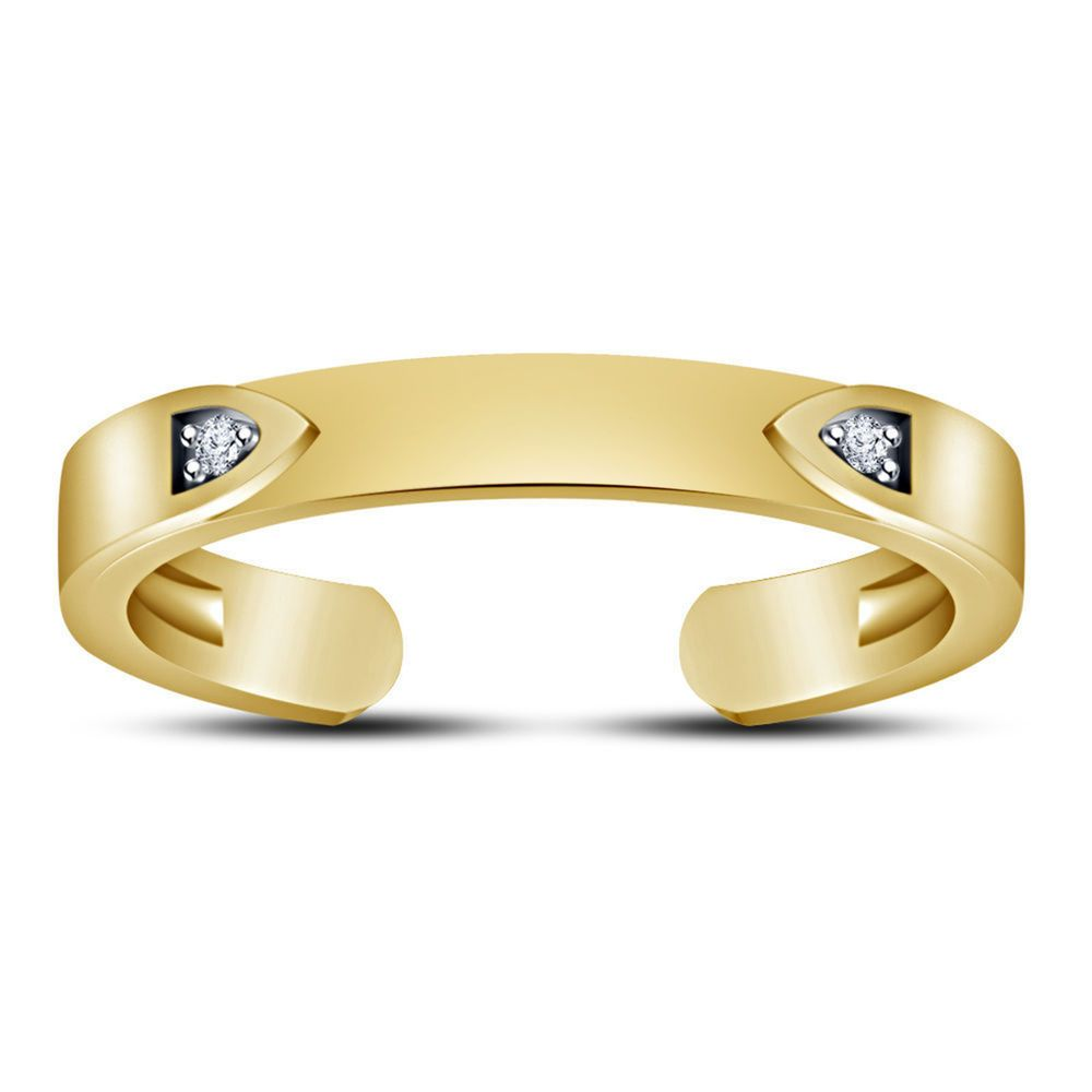 Jewelry & Watches 14k Solid Yellow Gold Shiny Toe Ring Body Art Adjustable Distinctive For Its Traditional Properties Toe Rings