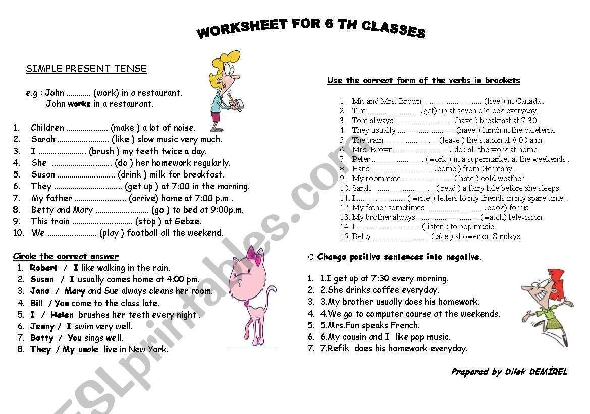 Worksheet On Simple Present Tense For Grade 3 In