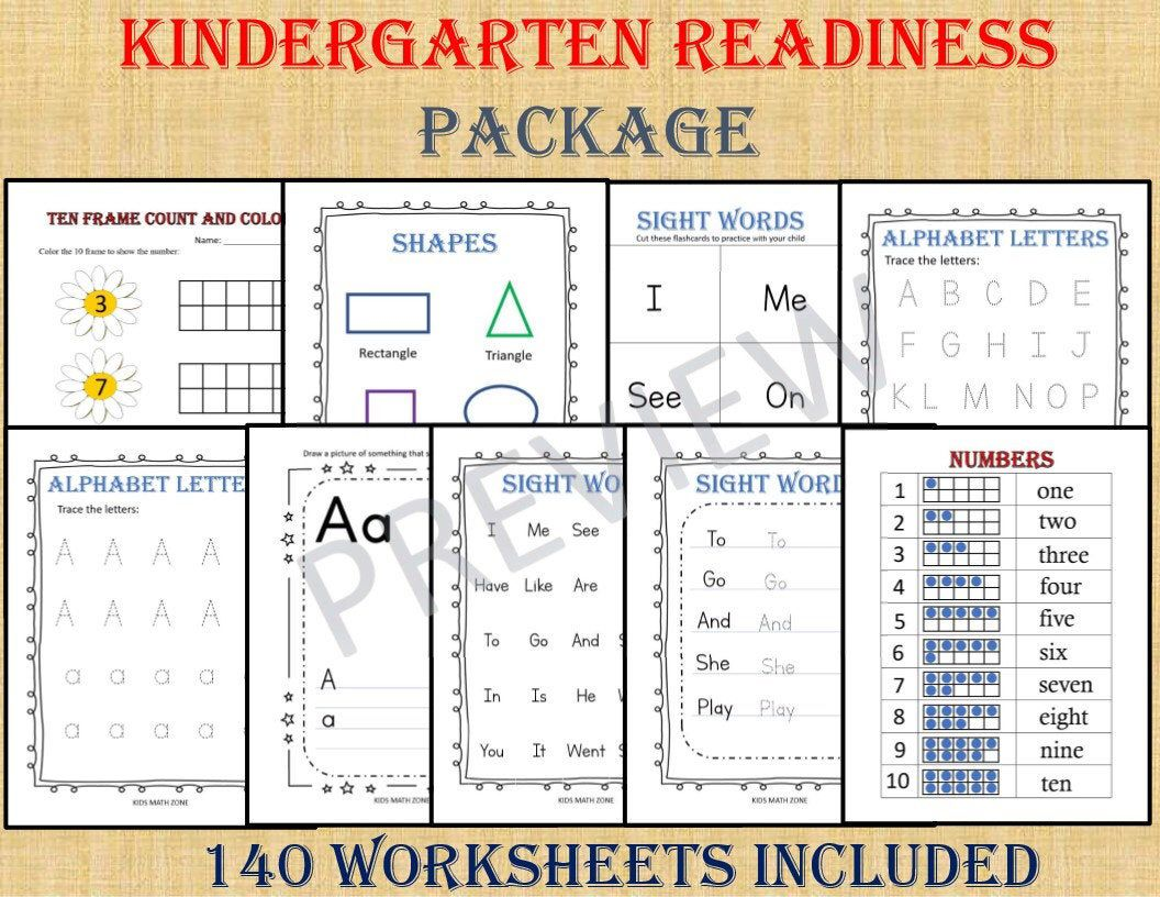 KINDERGARTEN Readiness Package (140 Worksheets) /pdf
