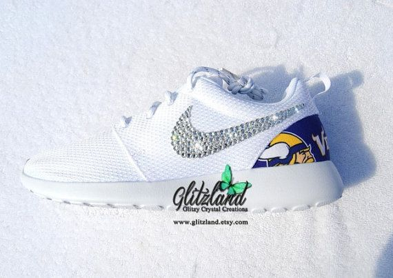 Swarovski Nike Roshe Run w/ Minnesota Vikings Print Heel Blinged with  SWAROVSKI® Crystals