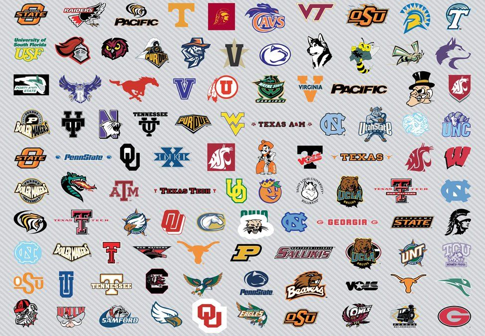 Vector team logos of the university basket teams competing