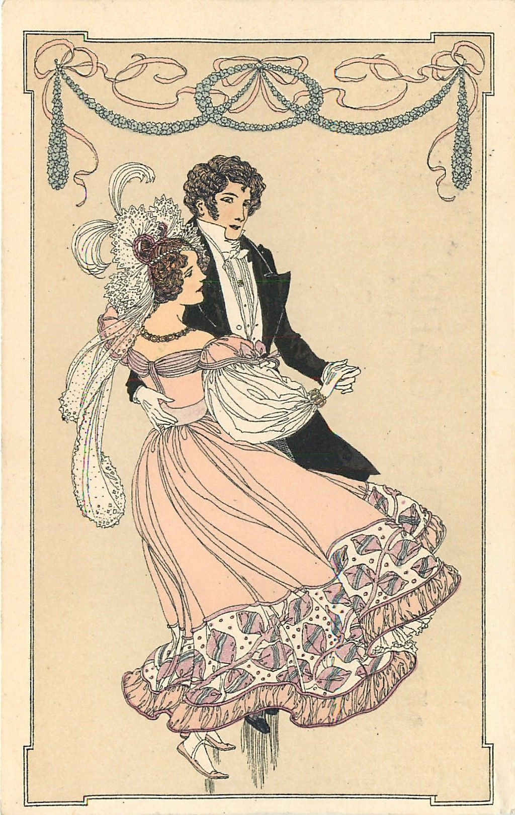 Man And Woman Dancing Tuckdb Postcards Dibujos Illustration Danza