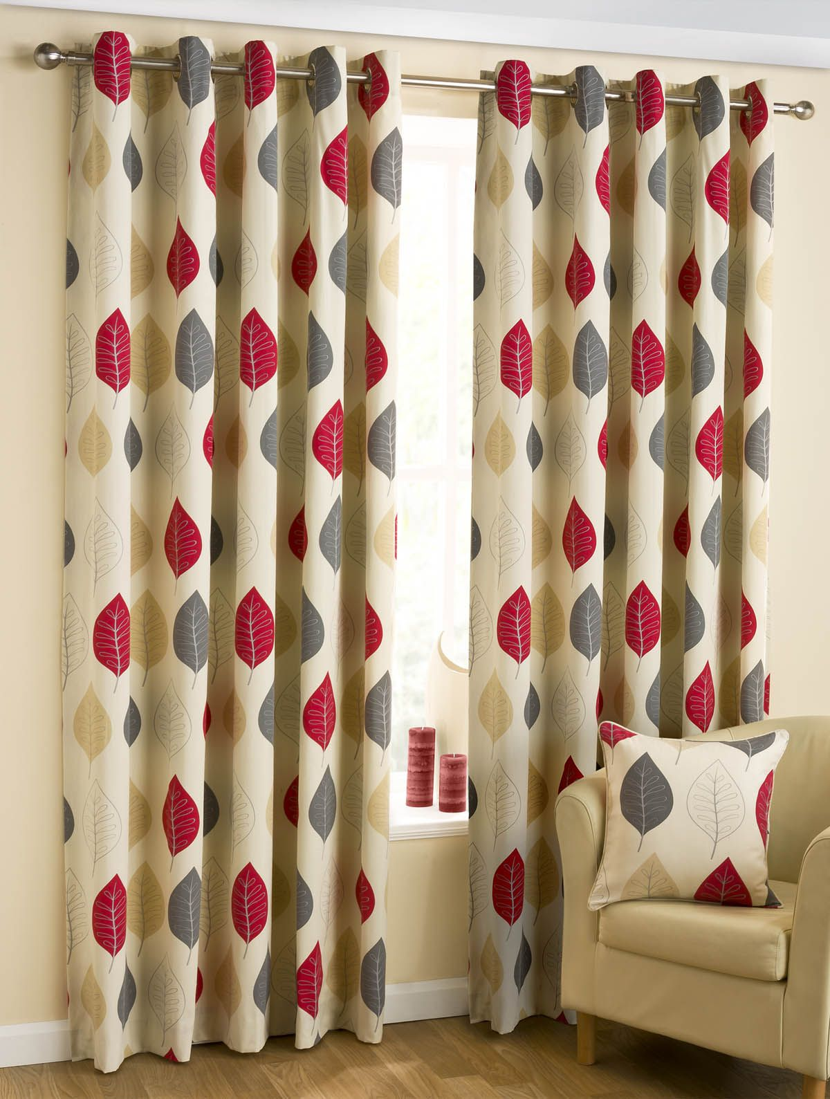 Room Leaves Ready Made Eyelet Curtains