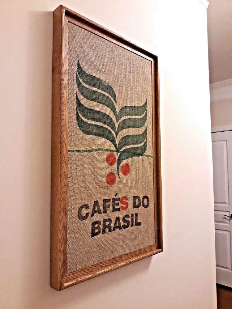 Tremendous Framed Cafes Do Brasil Coffee Bean Jute Burlap Sack Bag Art Creativecarmelina Interior Chair Design Creativecarmelinacom