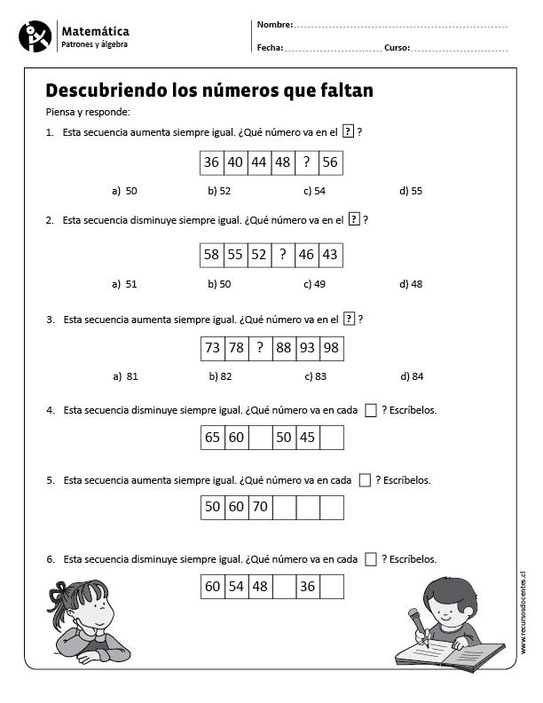 Descubriendo los números que faltan | matematica primero | Pinterest