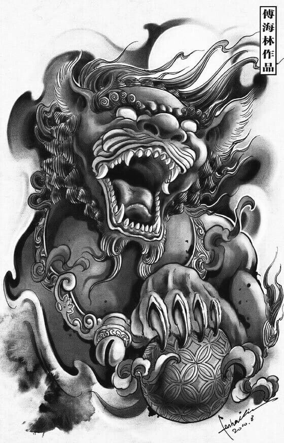 Foo Dog Jvc01 Japanese Tattoo Foo Dog Tattoo Design Foo Dog Tattoo