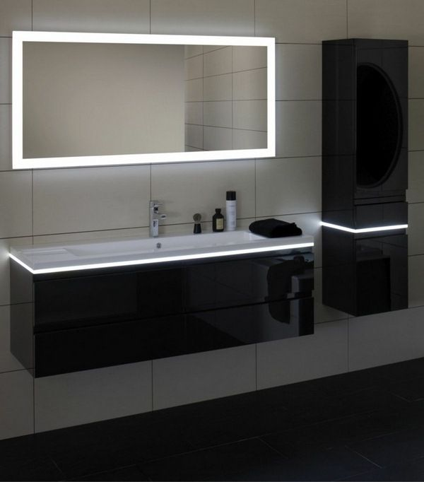 Bathroom with tub relaxing atmosphere lighted mirrors - Illuminated bathroom mirrors ikea ...