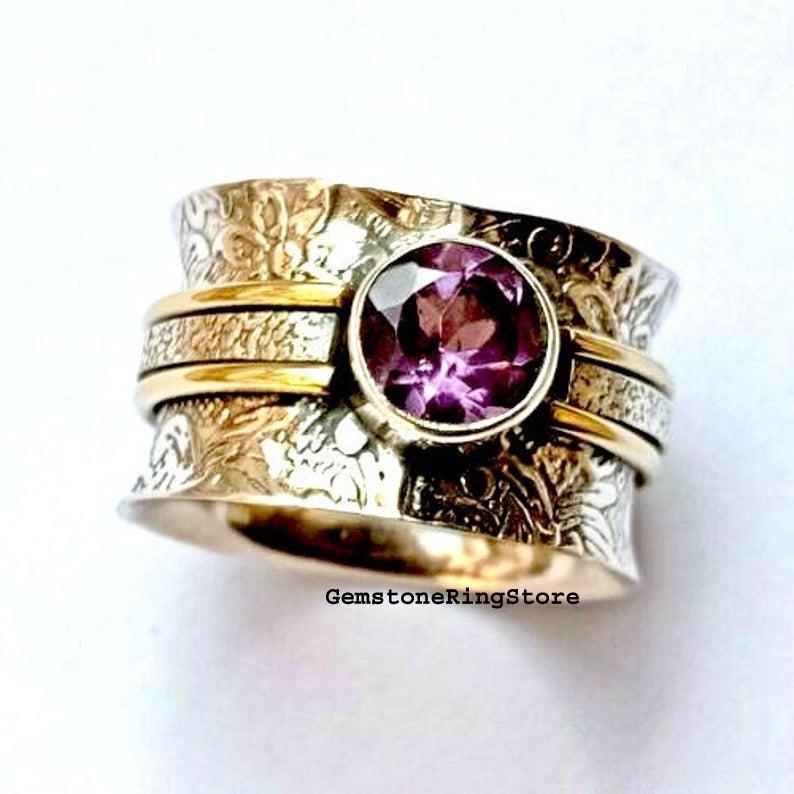 Amethyst Ring Natural Amethyst Anxiety Ring Band Ring Boho Ring Handmade Ring Designer Ring Women Ring Spinner Ring Promise Ring