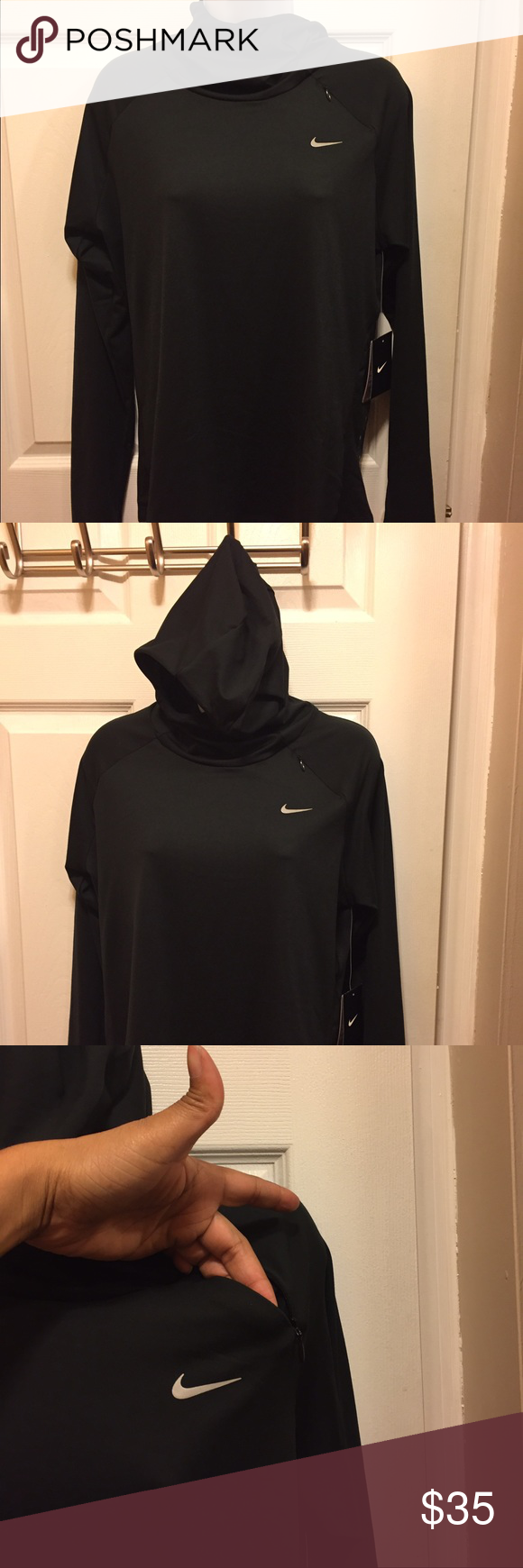 Nike dri fit hoody Brand new dri fit hoody/ never worn/size large/ front chest pocket/ thumb holes on sleeve/ perfect condition Nike Tops Sweatshirts & Hoodies