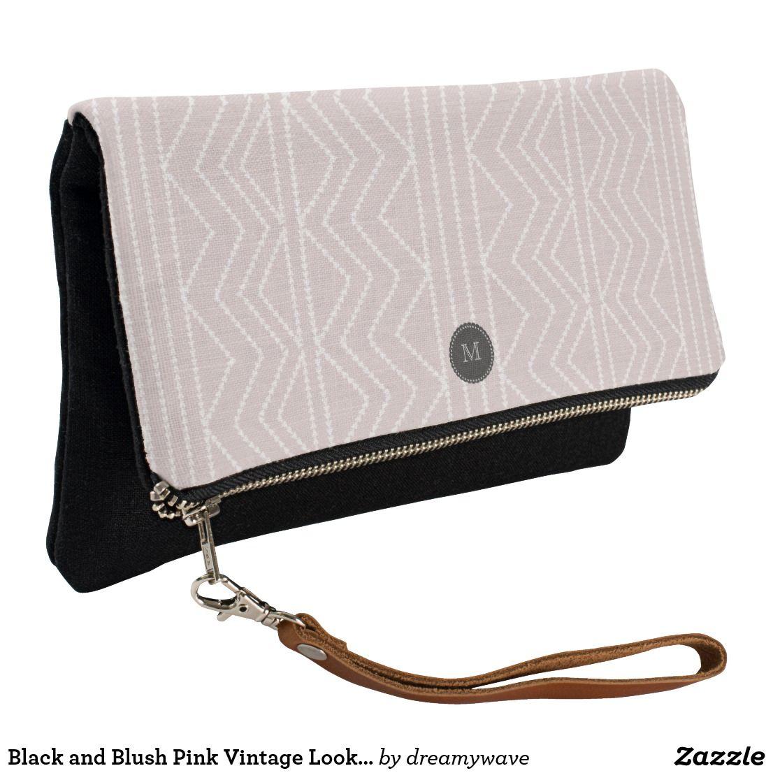 Black and Blush Pink Vintage Look Pattern Clutch