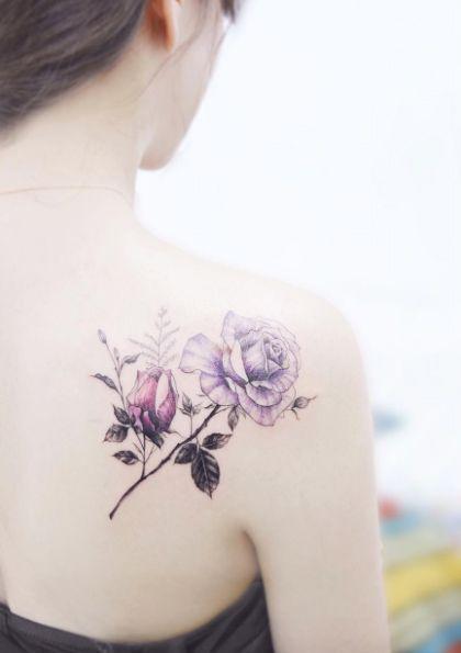 Elegant Back Shoulder Rose Tattoo By Flower Rose Tattoos For Women Rose Shoulder Tattoo Flower Tattoo Shoulder