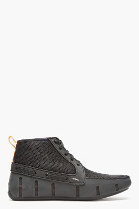 Swims Black Mesh High-top Sport Loafers for men | SSENSE