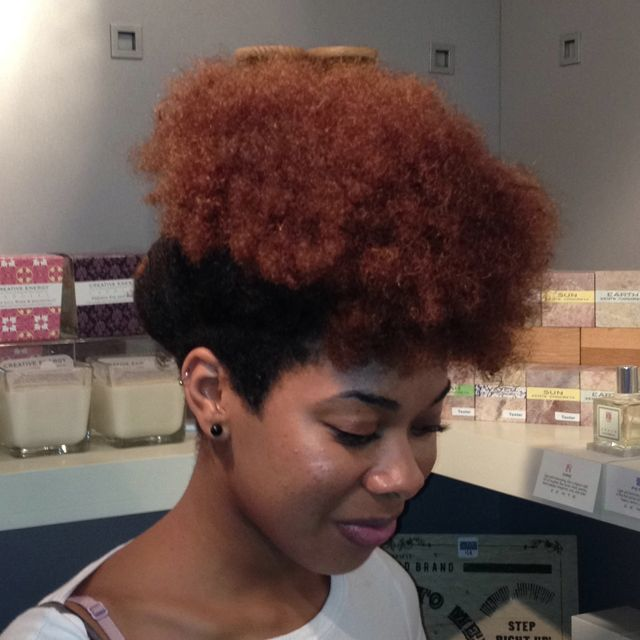 This funky Updo is creative and the color blocking adds diminsion.