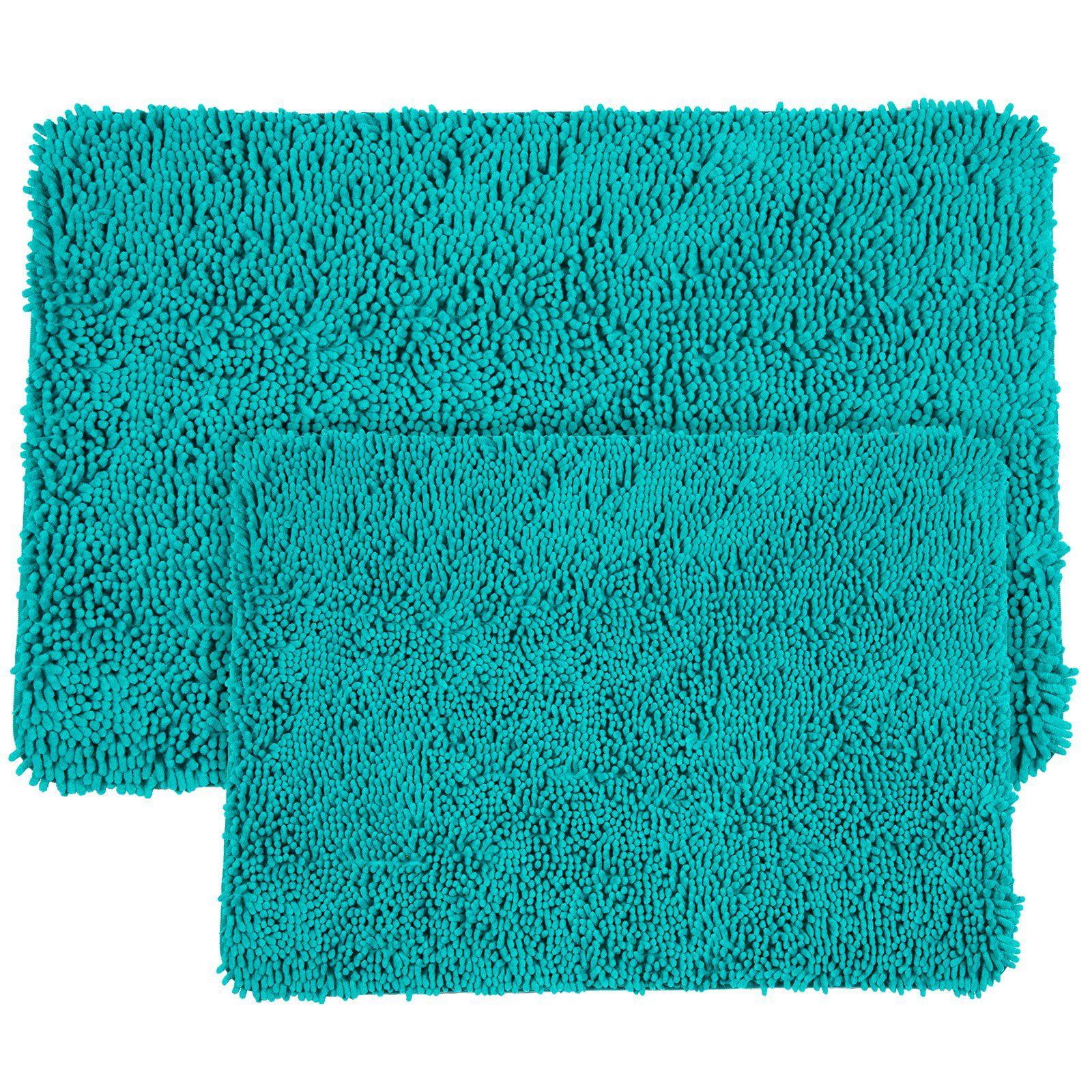 Lavish Home 2 Piece Memory Foam Shag Bath Mat Set Seafoam Bath