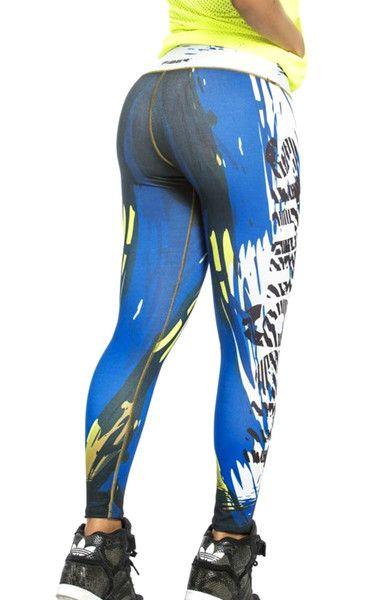 """Fiber - Blue """"Strength"""" Leggings"""