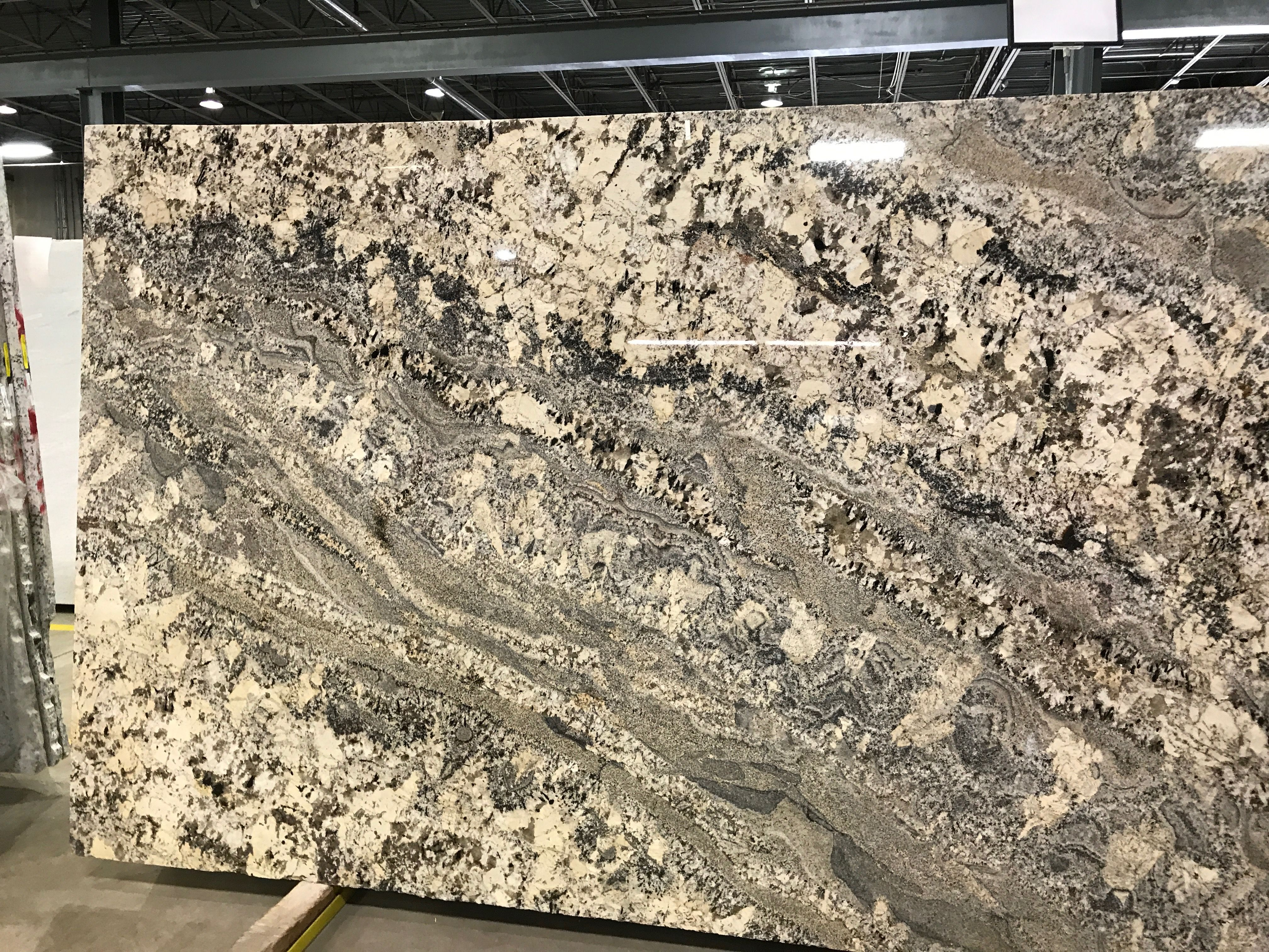 Slab Of Polished White Persa Granite Flowing With Beige Cream Gray Colors Price Level B