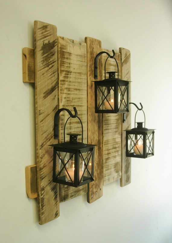 Pallet wall decor with lanterns Rustic by PineknobsAndCrickets #rustichomedecor