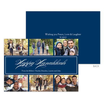 Navy Happy Hanukkah Photo Cards