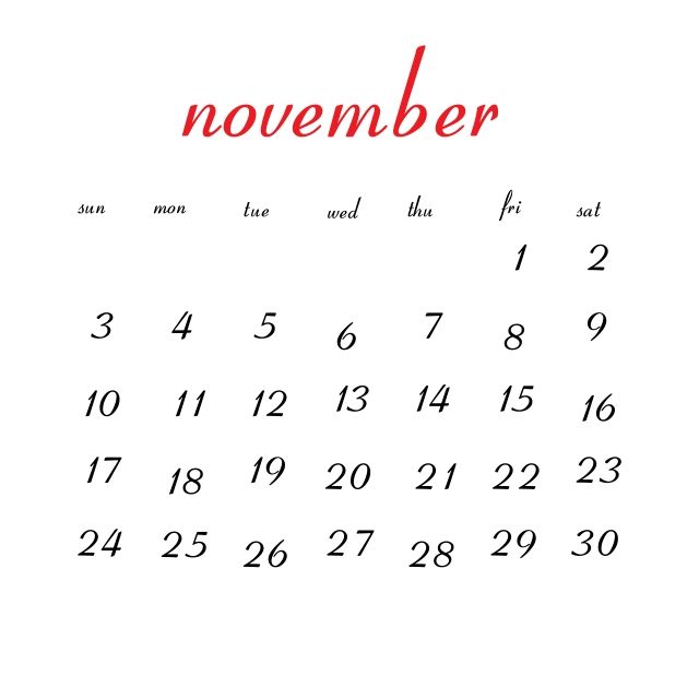 November 2019 Calendar A4 Size Landscape Vertical Portrait