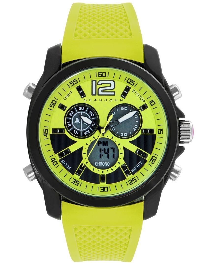 Sean John Men's Analog-Digital Bright Yellow Silicone Strap Watch 49mm 10025697
