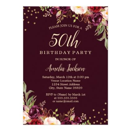 Gold Burgundy Floral Sparkle 50th Birthday Party Card