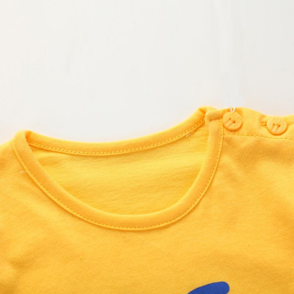 7cdef7dccdd7d0 Fineser Toddler Kids Baby Boys Summer Cotton TShirt Tops Shorts Pants Outfits  Clothing Set Yellow 24M