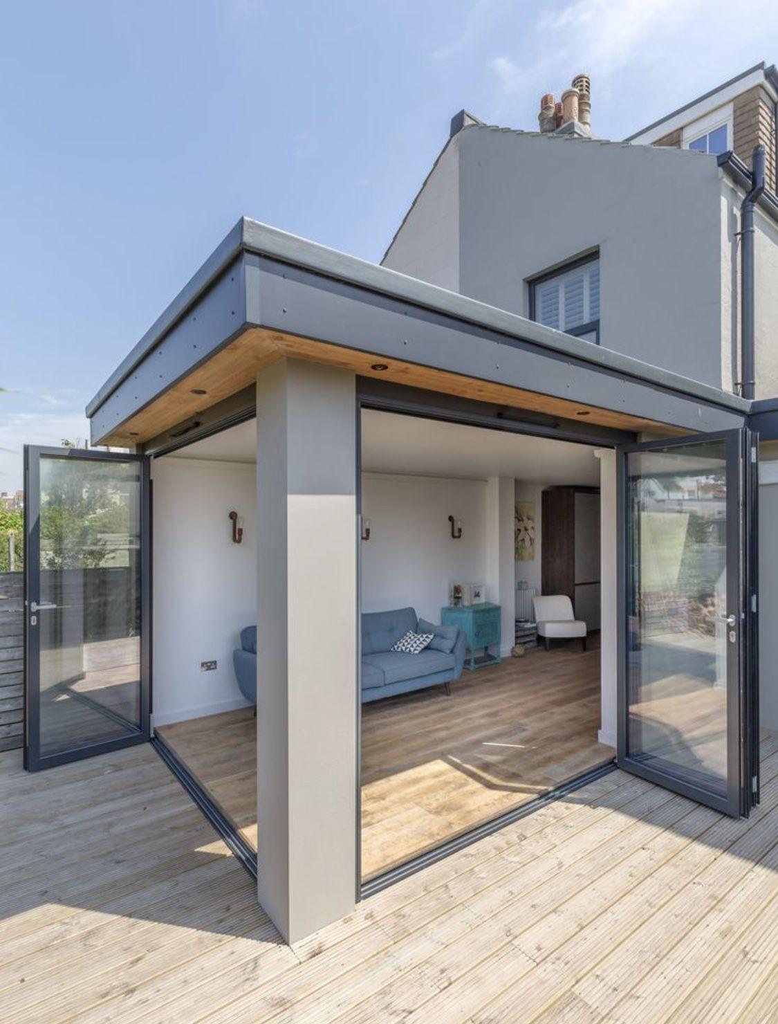 Veranda Metal Et Verre extension with double bi folds   garden room extensions