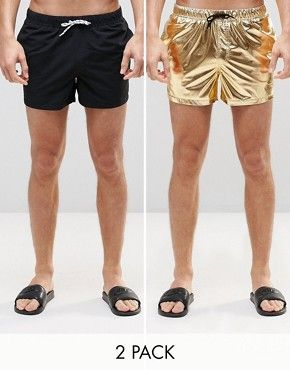 2b608b8a0dea0 ASOS Short Length Swim Shorts 2 Pack In Black And Gold Metallic ...