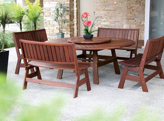 Great Jensen Jarrah Pemberton Table With 4 Curve Benches