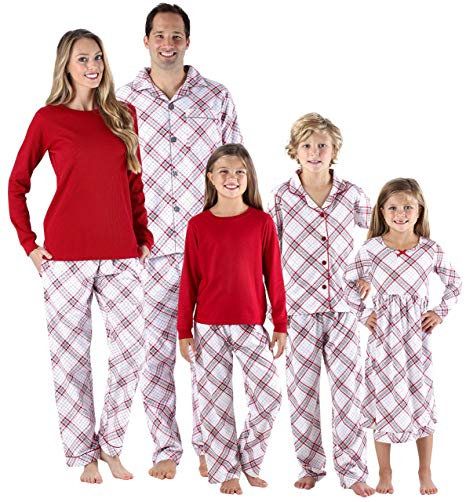 SleepytimePjs Christmas Family Matching Grey and Red Plaid