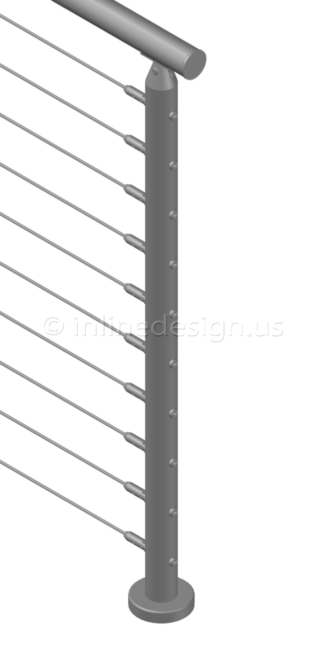 42 Pl Cable Railing Round Top Mount End Post Terminal Cable Railing Systems Railing Stainless Steel Railing