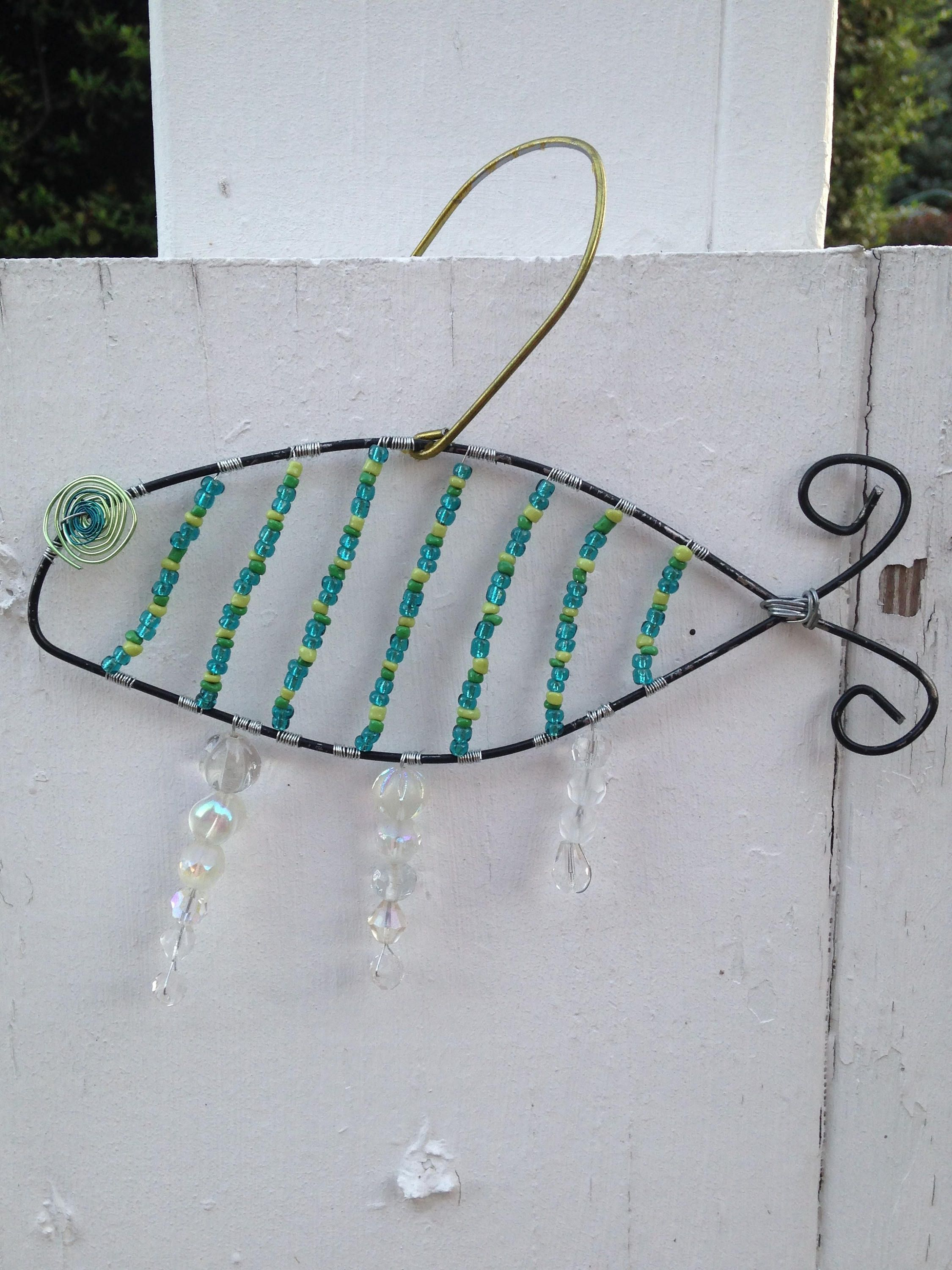 Fishy Beaded Wire Sculpture, Hanger Wire Beaded Fish Ornament ...