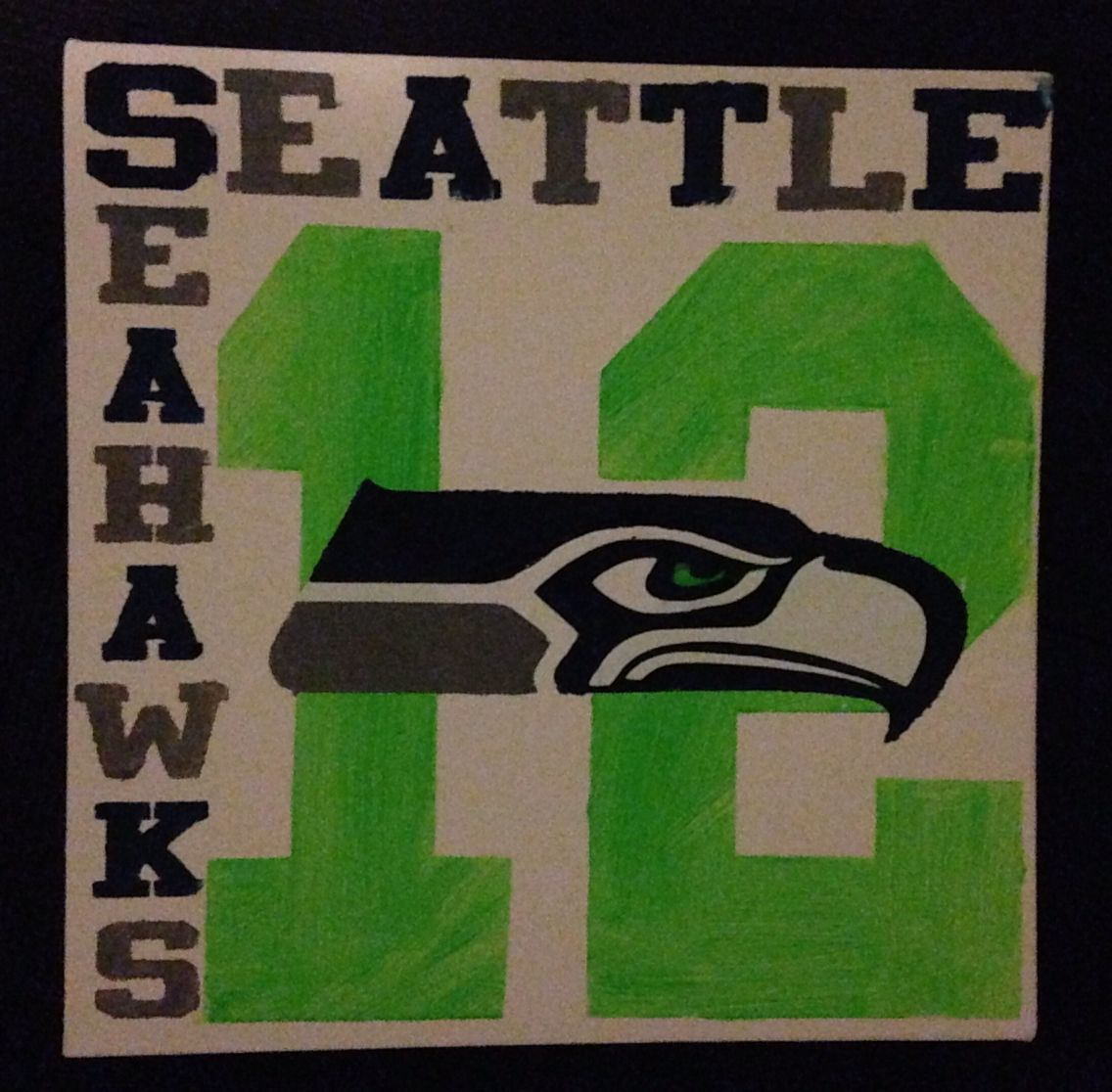 Painted canvas Seattle Seahawks sign | My Cameo Silhouette Creations ...