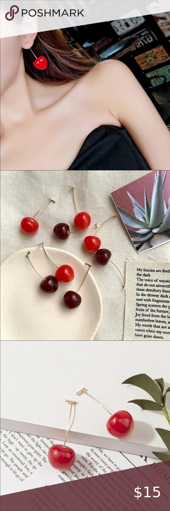 3 30 Fun Fruit Red Cherry Earrings Brand New Boutique Item Fun Dark Red Cherry Earrings And Bright Red Cherry In 2020 Cherry Earrings Best Fruits Fruit Earrings