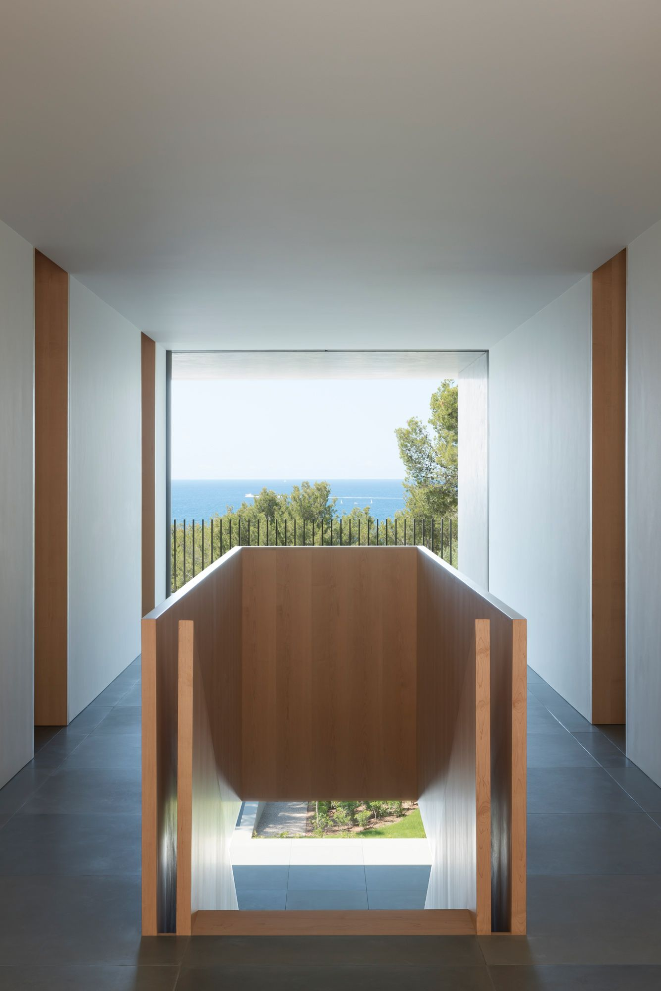Beauttiful staircase with a view to the sea. the Picornell House by John Pawson.