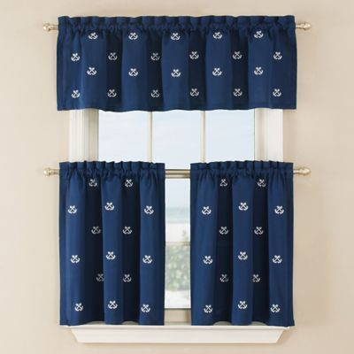36 inch window curtains buy crossed anchor 36inch window curtain tier pair in navy from bed bath beyond