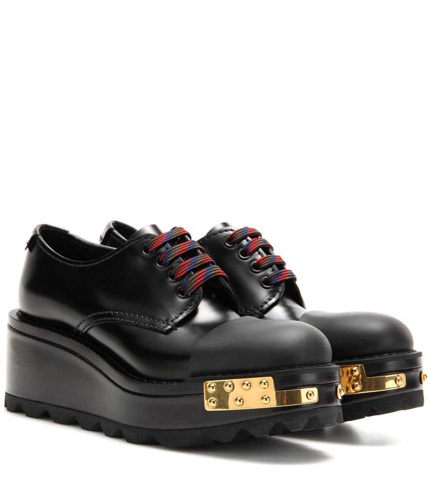400772da1f Prada - Embellished leather Derby shoes - Crafted from polished black  leather…