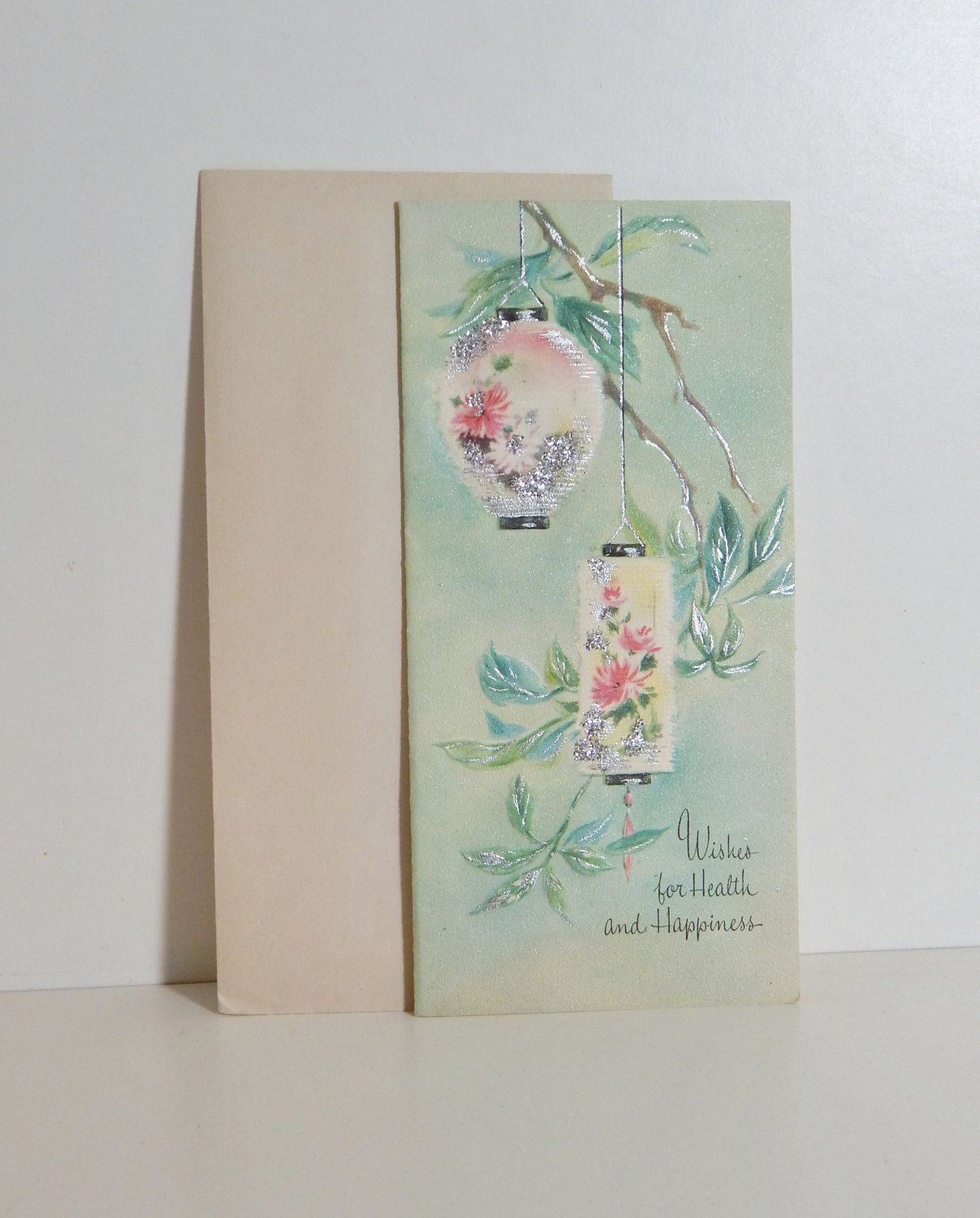Vintage Greeting Card Silver Mint Green Paper Lantern Get Well
