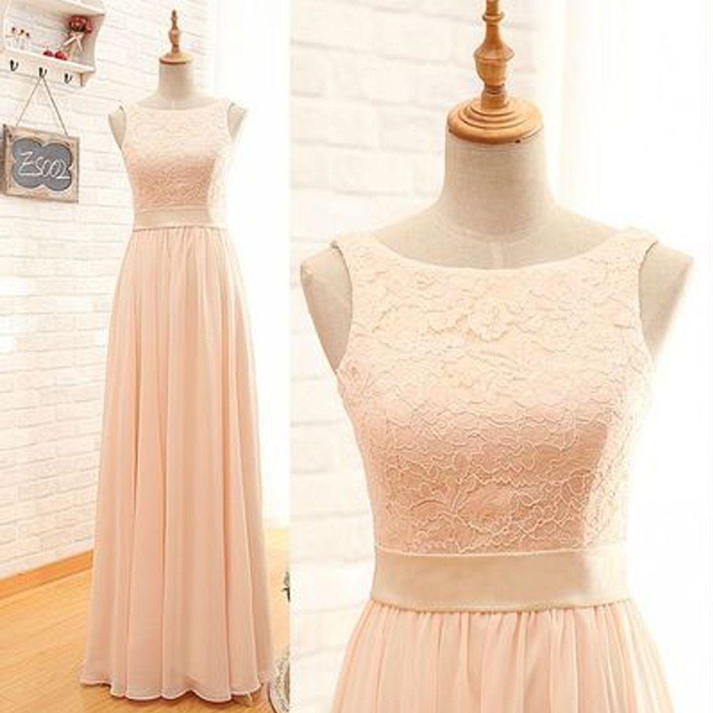 Modest lace top sleeveless blush pink zipper back maxi bridesmaid