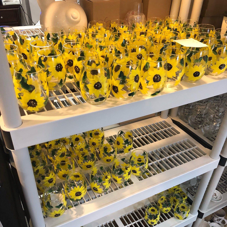 Sunflower Wine Glasses, Sunflower Gift, Sunflower Decor